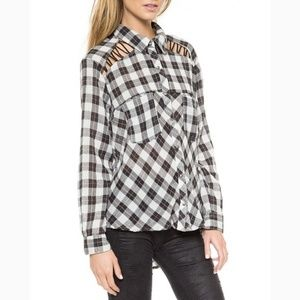 Free People Plaid Button Down, Sz M